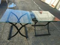 rectangular glass-top table with black steel base 164 mi