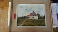 Original old Oil painting on canvas with house Montréal