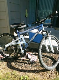 blue and white hardtail mountain bike Lexington, 40517