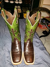 pair of green-and-brown leather cowboy boots Louisville, 40219