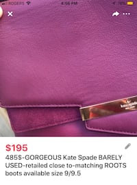 485$-GORGEOUS Kate Spade BARELY USED-retailed close to-matching ROOTS boots available size 9/9.5 London, N5Y 4W5