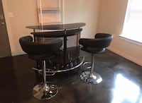 Glass high top bar with two adjustable leather barstools North Little Rock, 72117