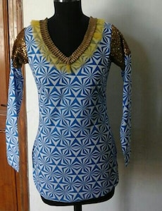 women's blue and white long-sleeve top