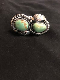 silver-colored and green gemstone ring Lanham, 20706