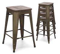 "New never used // 24"" Set Of 4 Industrial Metal Counter Height Bar Stools w/ Wood Seat - Copper Indianapolis, 46221"