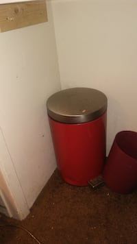 Red and silver foot opened small trash can Las Vegas