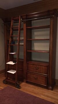 Brown wooden frame glass display cabinet Franklin Lakes, 07417
