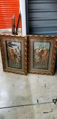 Two framed elephant art with the trunks raised Greensboro, 27455