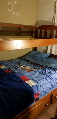 Solid Wood Cherry Finish Bunk Beds