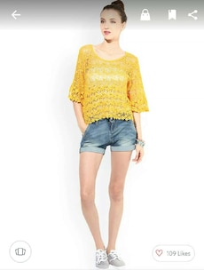 women's yellow floral cover-up and blue denim fade