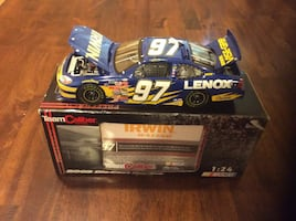 Blue and white lenox 97 irwin racing car toy with box