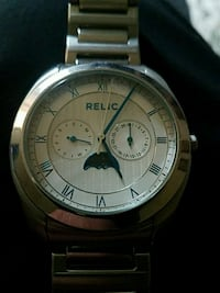 round silver Fossil chronograph watch with link bracelet Coxs Creek, 40013
