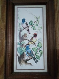 thre birds in the tree painting with frame
