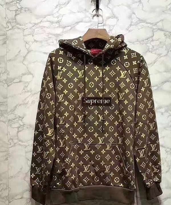 6d1f6d7c Used Supreme X Louis Vuitton monogram canvas pull-over hoodie jacket for  sale in Miami - letgo