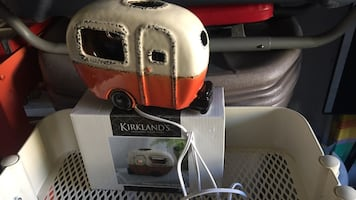 White and orange kirklands home appliance with box