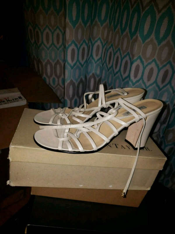 296050e9879e Used pair of white leather gladiator sandals for sale in Palisades Park -  letgo