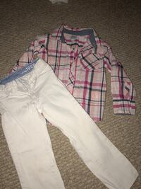Girl's size 4 outfit Plaid button up shirt and white jeans Clarksburg