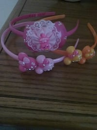 two pink and orange head bands