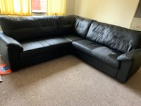Super Used Black Leather Sectional Sofa With Throw Pillows For Sale In Berkeley Letgo Machost Co Dining Chair Design Ideas Machostcouk