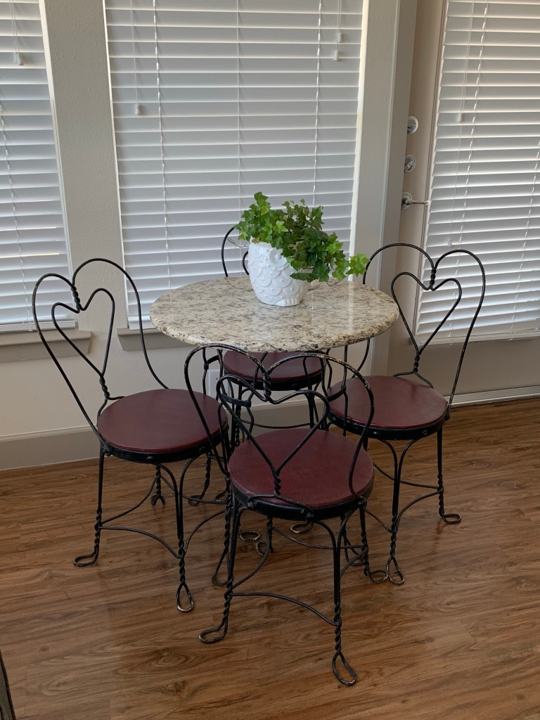 Vintage Ice Cream Parlor Chair And Table