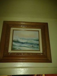 """ocean wave wall art with brown wooden wall frame 1'.10"""" high X 1'.6"""" width"""