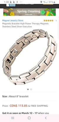 Magnetic Bracelet High Power Magnets Stainless Steel Silver   Brampton, L6R 1L5