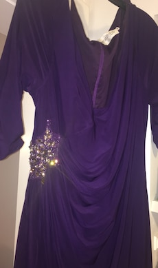 Women's purple scoop neck long sleeve dress