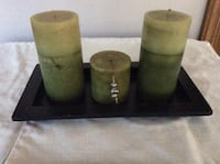 Candles set of three with wood tray