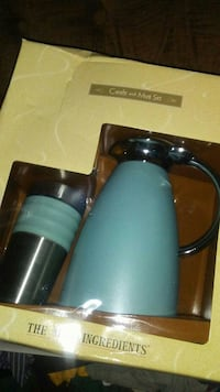 blue and silver Carafe and Mug set with yellow box Augusta, 30906