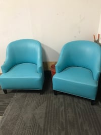 two blue leather sofa chairs Burleson, 76028