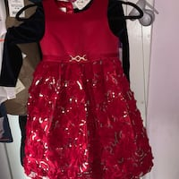 Beautiful dresses and shoes all dresses are 6 but the pink dress and the pink one is a size 4