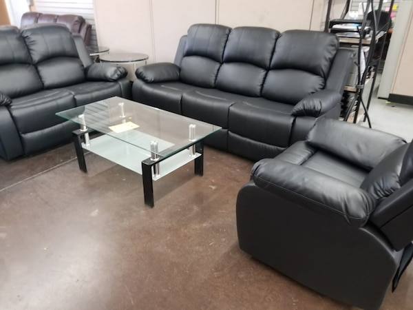 Swell Black Bonded Leather Reclining Sofa Love And Chair Gmtry Best Dining Table And Chair Ideas Images Gmtryco