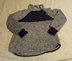 Women's Asymmetrical Snap Collar Fleece Pullover  NEW SZ L,