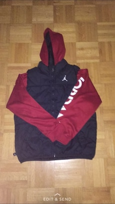 black and red Air Jordan full zip hoodie