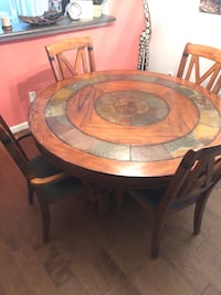 Large Round Dining Room Table (5 foot diameter solid wood and real stone). Chairs included! Aiken, 29803