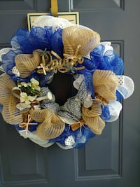 blue and brown wreath