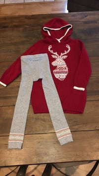 girls long sweater dress and tights size 5-6 Tracy, 95376