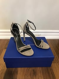 BRAND NEW Stuart Weitzman Grey Suede Sandals size 6.5 Vaughan, L6A