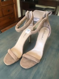 Nude Suede Strappy Heels Size 8.5! Only worn once! 5 to 5.5 inch heel! Somerville, 02145