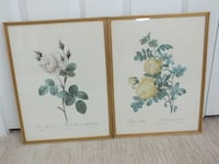 Framed pair of floral prints. Roses from N. Ireland Saint Simons Island
