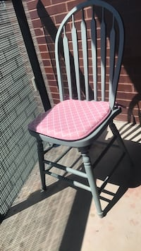 2 x up-cycled chairs. Vintage. Duck egg blue with pink cushions Toronto, M6R 1R1