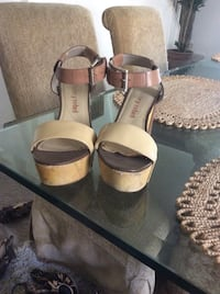 pair of brown leather open-toe ankle strap heels Irvine, 92620