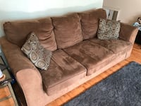 Brown microfiber couch with pillows 55 km