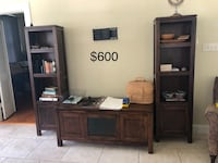 Brown wooden tv hutch with flat screen television Covington, 70433