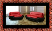 Red/black 2pc set sofa and loveseat Temple Hills