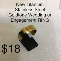 New Titanium Stainless Steel Goldtone Band Ring Size 12, 8 mm wide Chesapeake, 23320
