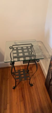 2 Iron tables glass top