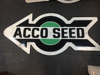 LEFT POINTING Antique ACCO SEED Arrow Metal Sign 64 X 29 Feed Sign   Wellsville, 17365