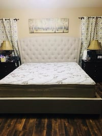 Brand new king bed frame with King pillow top mattress