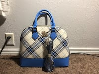 blue and white plaid leather handbag Rosamond, 93560